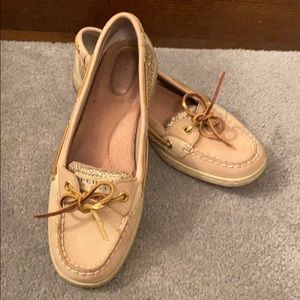 Sperry Angelfish Boat Shoes With Gold Metallic